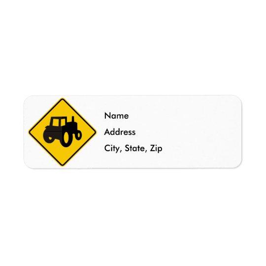 Farm Machinery Traffic Highway Sign Return Address Label