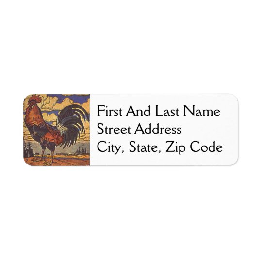 Farm Rooster Chicken Painting Illustration Return Address Label