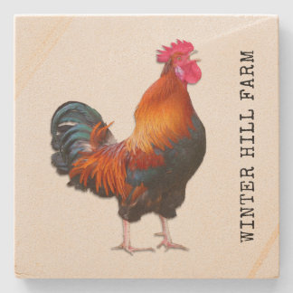 Farm Rooster Personalised Stone Coaster