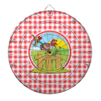Farm Rootster; Red and White Gingham Dart Board