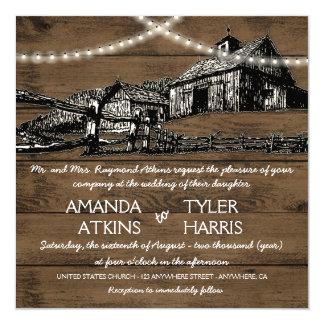 Farm Rustic String Lights Barn Wedding Invitations
