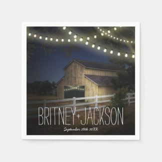 Farm String Lights Rustic Barn Wedding Napkins Disposable Serviettes
