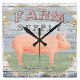 Farm Supply Square Wall Clock