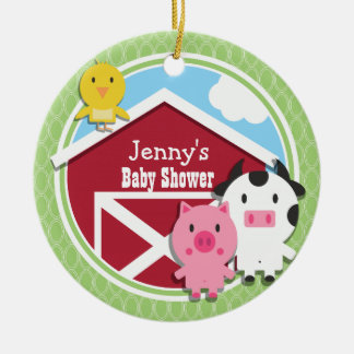 Farm Theme Baby Shower; Bright Green Ovals Ornament