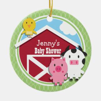 Farm Theme Baby Shower; Bright Green Ovals Round Ceramic Decoration