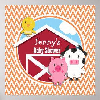 Farm Theme Baby Shower Orange and White Chevron Print