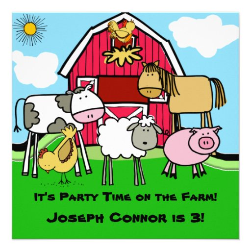 Farm Theme Customized  Birthday Invitations