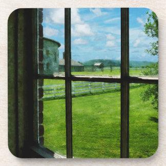 Farm Through Window Drink Coasters