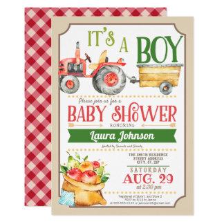 Farm Tractor Boy Baby Shower Card