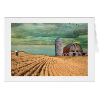 Farm Wheat field with Barn Card