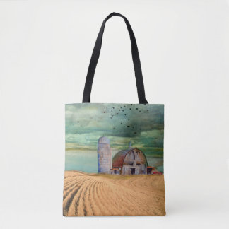 Farm Wheat field with Barn Tote Bag