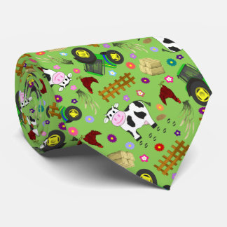 Farm yard cow and tractor tie