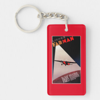 Farman Airlines Farman 300 Monoplane Promo Poste Double-Sided Rectangular Acrylic Key Ring