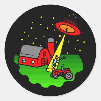 Farmer Alien Abduction Classic Round Sticker