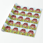 Farmer and barn wrapping paper