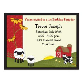 Farmer Baby Birthday Invitation Postcard