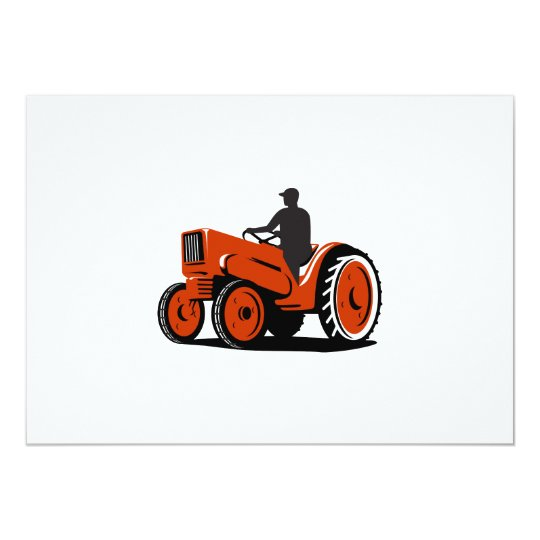 Farmer Driving Vintage Tractor Retro Card