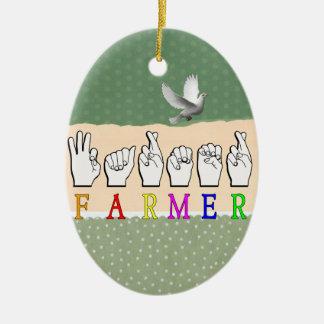 FARMER FINGERSPELLED ASL NAME SIGN CERAMIC ORNAMENT