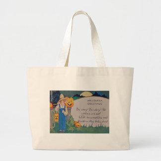 Farmer Girl Smiling Jack O' Lantern Pumpkin Jumbo Tote Bag