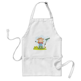 Farmer girl with a rake in grass aprons