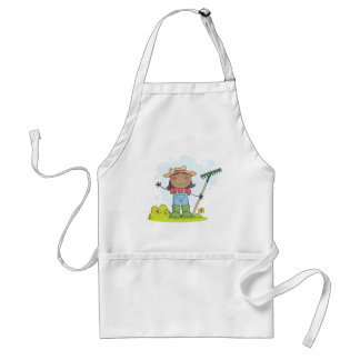 Farmer girl with a rake in grass with flowers aprons