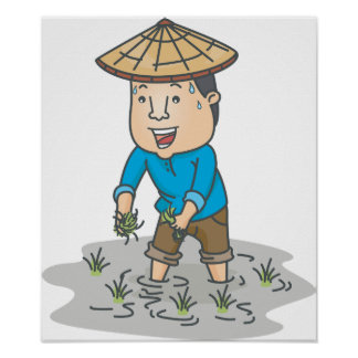 Farmer In A Rice Field Poster