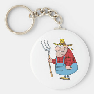 Farmer Man Carrying A Rake Key Ring