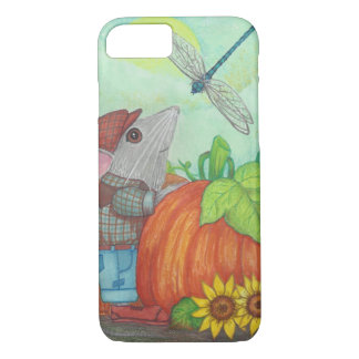 Farmer Mouse with Dragonfly at Pumpkin Patch iPhone 8/7 Case