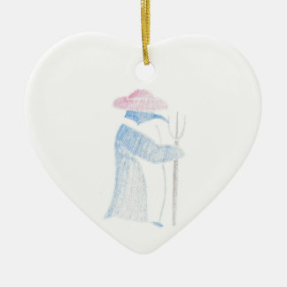 Farmer Penguin Ceramic Heart Decoration