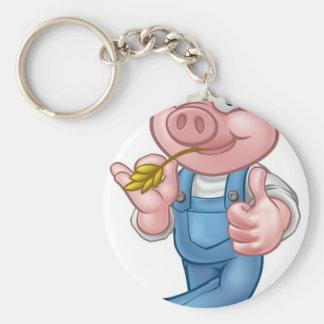 Farmer Pig Cartoon Character Key Ring