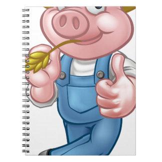 Farmer Pig Cartoon Character Notebook