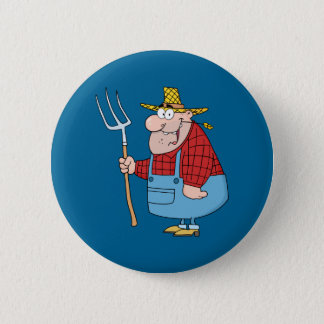 Farmer With Pitchfork 6 Cm Round Badge