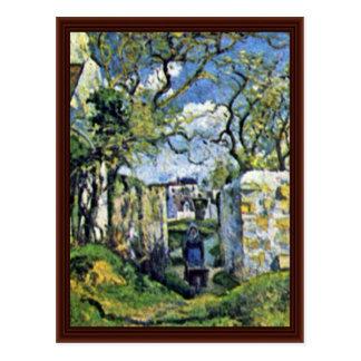 Farmer With Wheelbarrow,  By Pissarro Camille Postcard