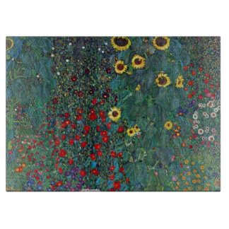 Farmergarden w Sunflower by Klimt, Vintage Flowers Cutting Boards