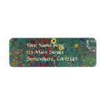 Farmergarden w Sunflower by Klimt, Vintage Flowers Return Address Label
