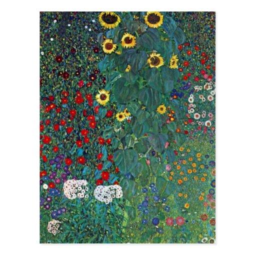 Farmergarden w Sunflower by Klimt, Vintage Flowers Postcard