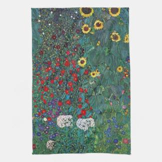 Farmergarden w Sunflower by Klimt, Vintage Flowers Tea Towel