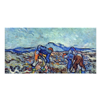 Farmers At Work By Vincent Van Gogh Photo Card