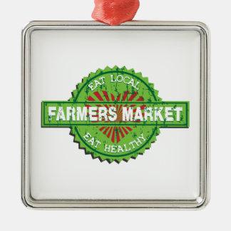 Farmers Market Heart Silver-Colored Square Decoration