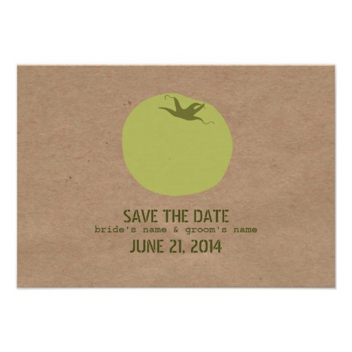 Farmers Market Inspired Green Tomato Save The Date Custom Announcements