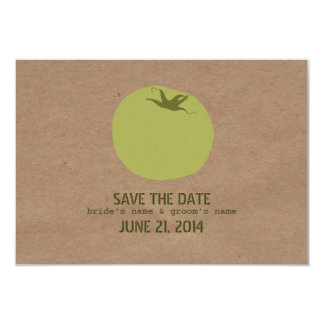 "Farmers Market Inspired Green Tomato Save The Date 3.5"" X 5"" Invitation Card"