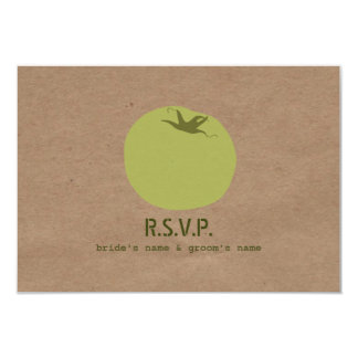 Farmers Market Inspired Wedding RSVP Green Tomato 9 Cm X 13 Cm Invitation Card