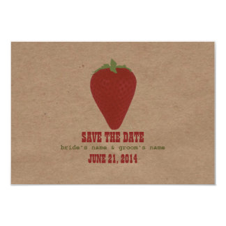 "Farmers Market Inspired Wedding RSVP | Strawberry 3.5"" X 5"" Invitation Card"