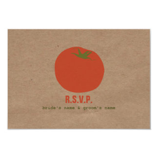 "Farmers Market Inspired Wedding RSVP | Tomato 3.5"" X 5"" Invitation Card"