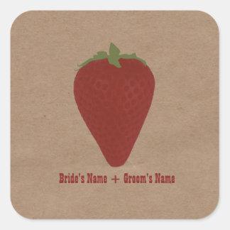 Farmers Market Inspired Wedding Sticker Strawberry