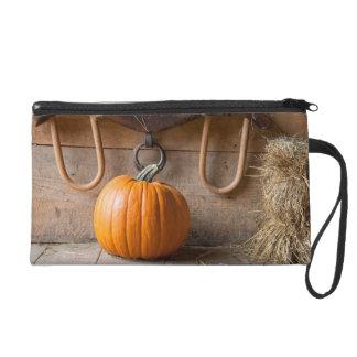 Farmers Museum. Pumpkin in barn with bale of hay Wristlet