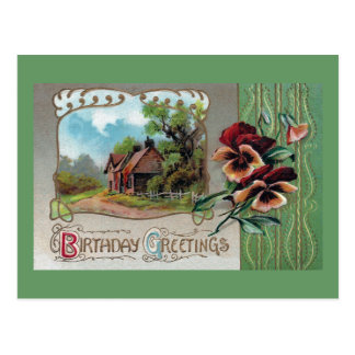 Farmhouse and Pansies Vintage Birthday Postcard
