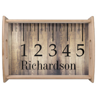 Farmhouse Barn Wood Ruler Family Name Serving Tray