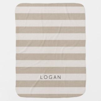 Farmhouse Beige Linen Stripes Monogram Baby Blanket