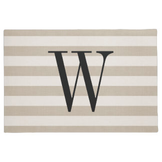Farmhouse Beige Linen Stripes Monogram Doormat